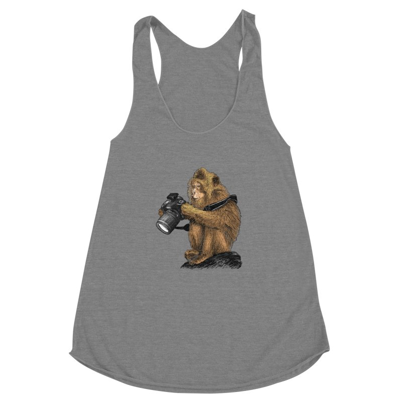 monkey photographer Women's Racerback Triblend Tank by gupikus's Artist Shop
