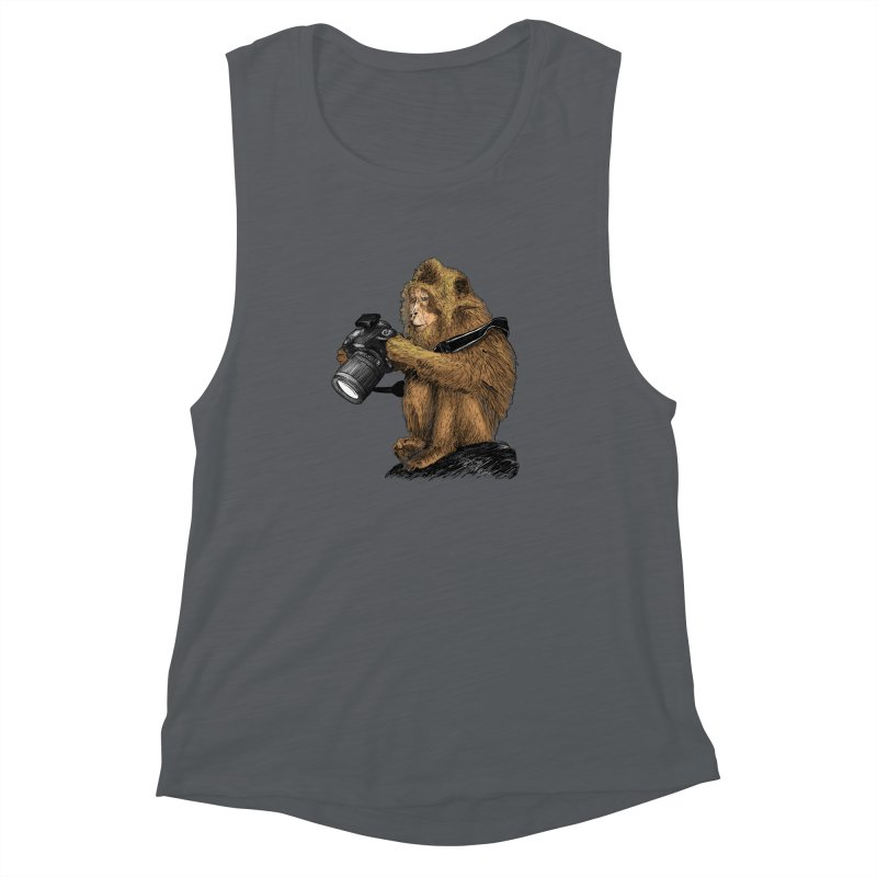 monkey photographer Women's Muscle Tank by gupikus's Artist Shop