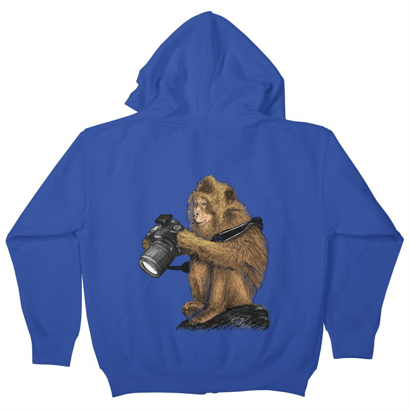 monkey photographer Kids Zip-Up Hoody by gupikus's Artist Shop