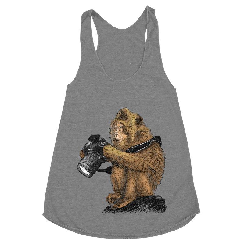 monkey photographer Women's Racerback Triblend Tank by gupikus's Artist Shop