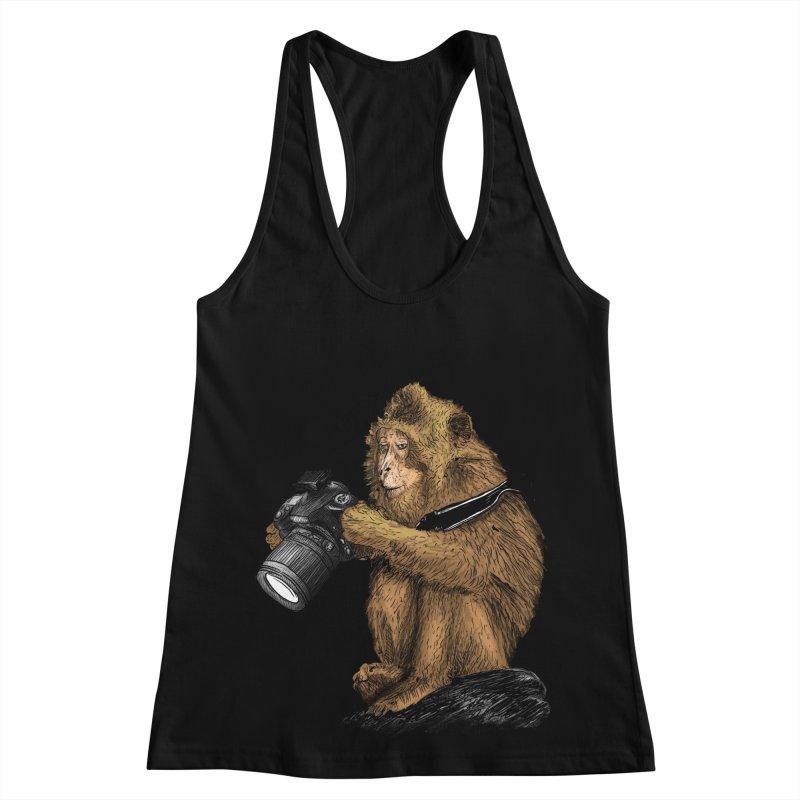 monkey photographer Women's Racerback Tank by gupikus's Artist Shop