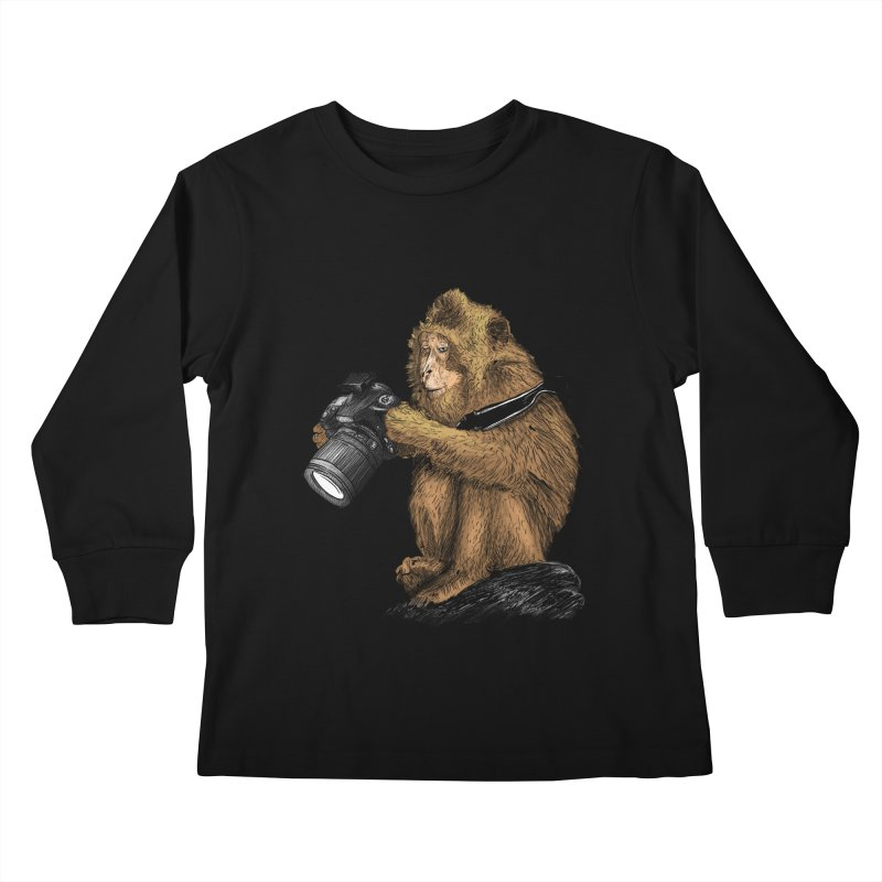 monkey photographer Kids Longsleeve T-Shirt by gupikus's Artist Shop