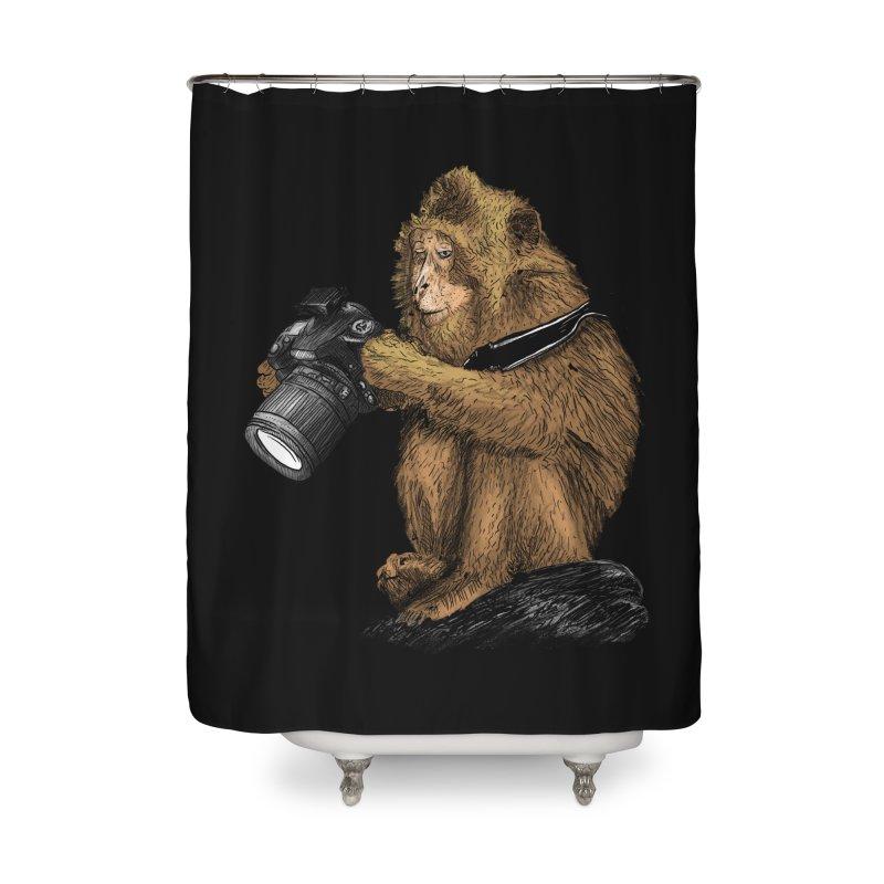 monkey photographer Home Shower Curtain by gupikus's Artist Shop