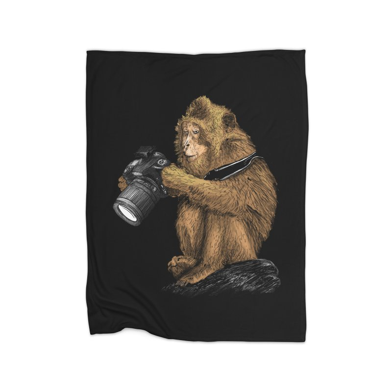 monkey photographer Home Blanket by gupikus's Artist Shop