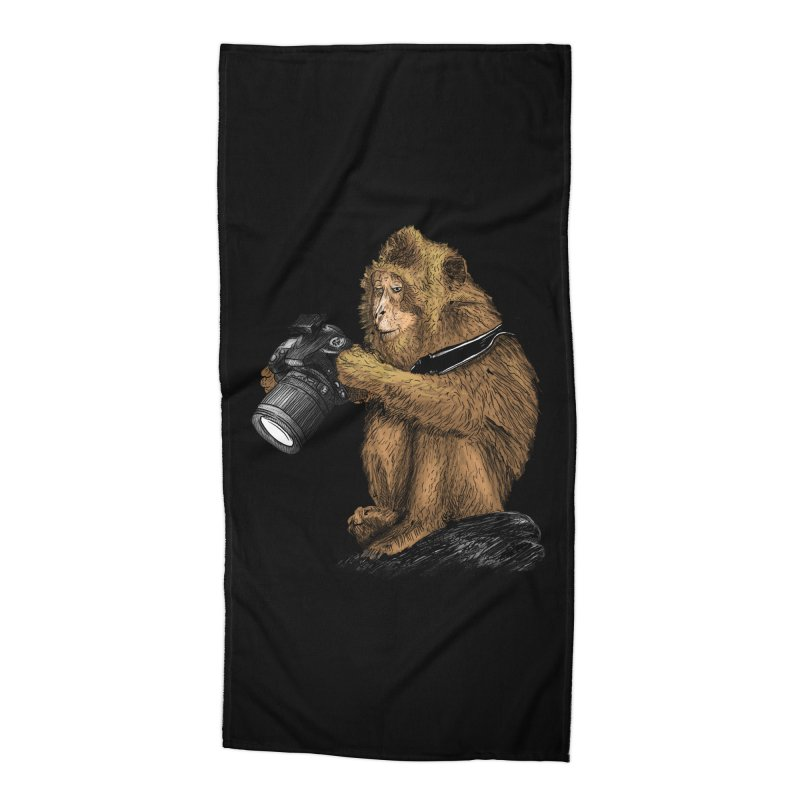 monkey photographer Accessories Beach Towel by gupikus's Artist Shop