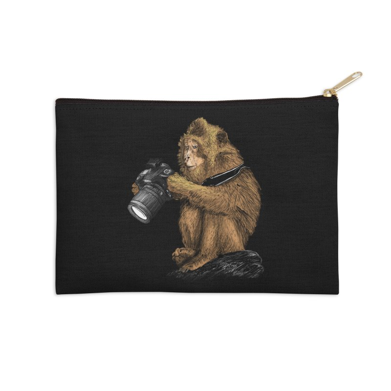 monkey photographer Accessories Zip Pouch by gupikus's Artist Shop