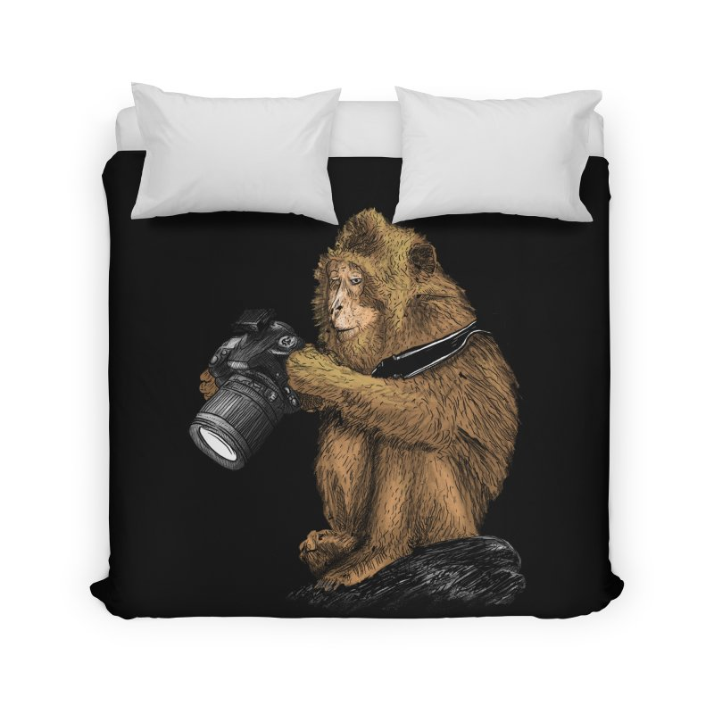 monkey photographer Home Duvet by gupikus's Artist Shop