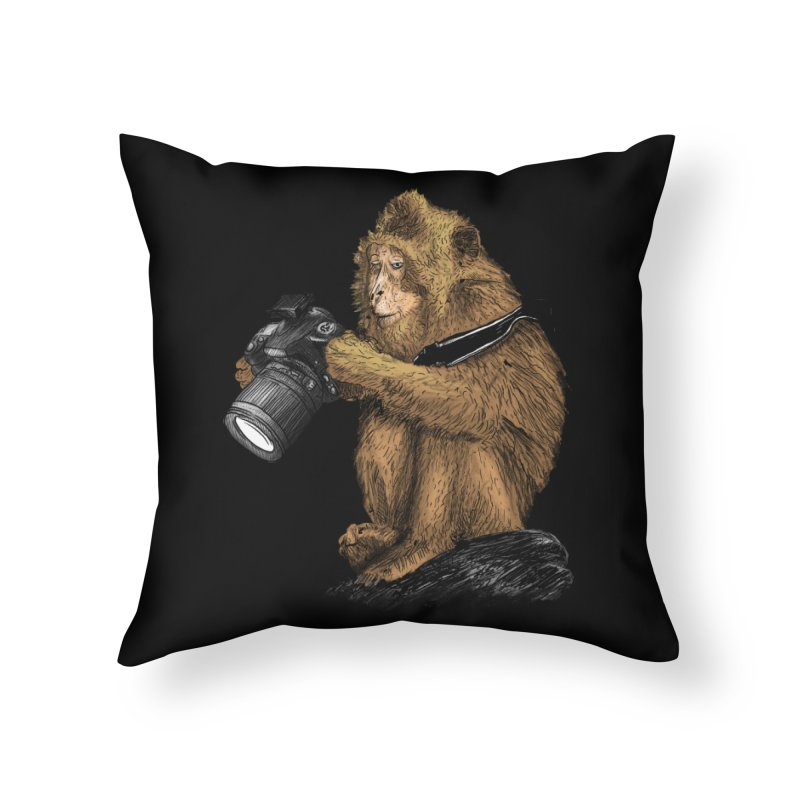 monkey photographer Home Throw Pillow by gupikus's Artist Shop