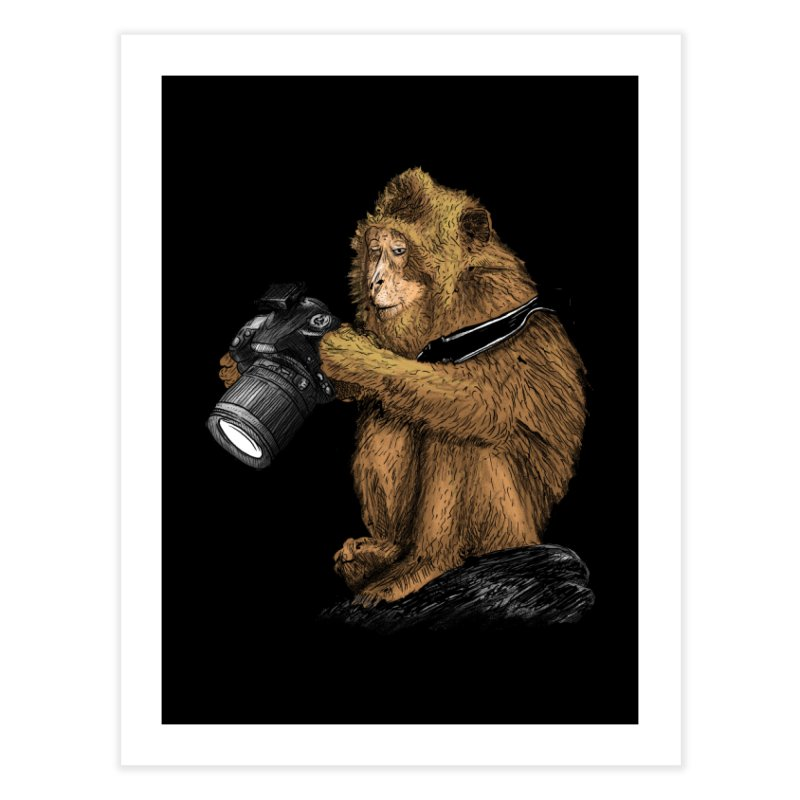 monkey photographer Home Fine Art Print by gupikus's Artist Shop