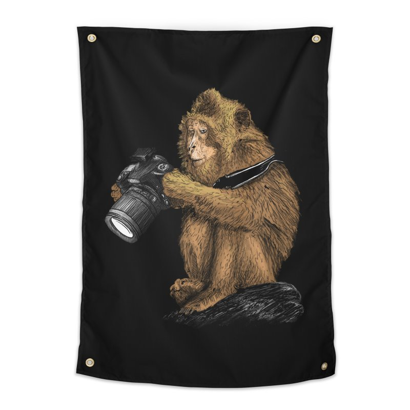 monkey photographer Home Tapestry by gupikus's Artist Shop