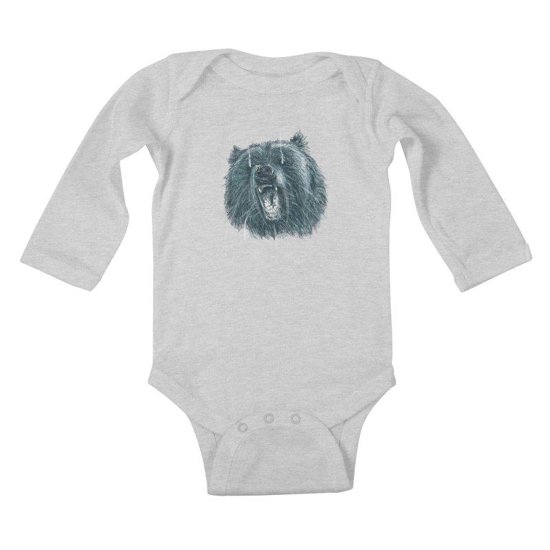 beast bear Kids Baby Longsleeve Bodysuit by gupikus's Artist Shop