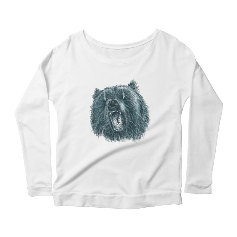 beast bear Women's Scoop Neck Longsleeve T-Shirt by gupikus's Artist Shop