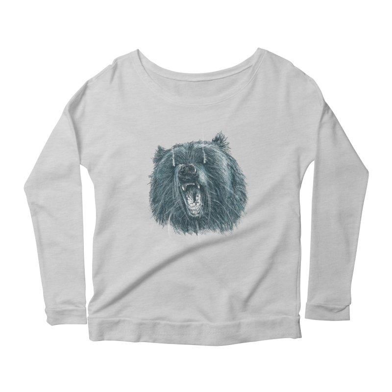beast bear Women's Longsleeve Scoopneck  by gupikus's Artist Shop