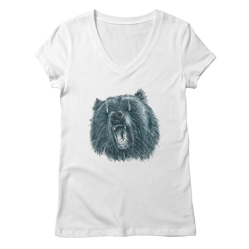 beast bear Women's V-Neck by gupikus's Artist Shop