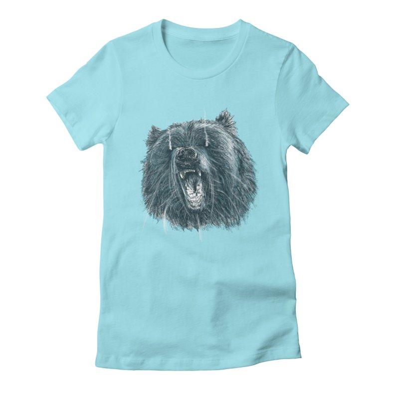beast bear Women's Fitted T-Shirt by gupikus's Artist Shop