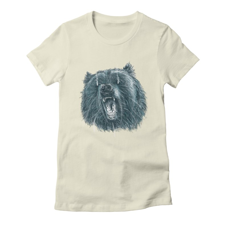 beast bear Women's Fitted T-Shirt by gupikus's Artist Shop