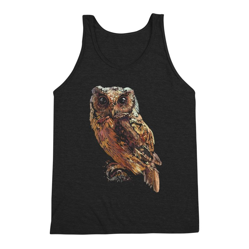 dark owl Men's Triblend Tank by gupikus's Artist Shop
