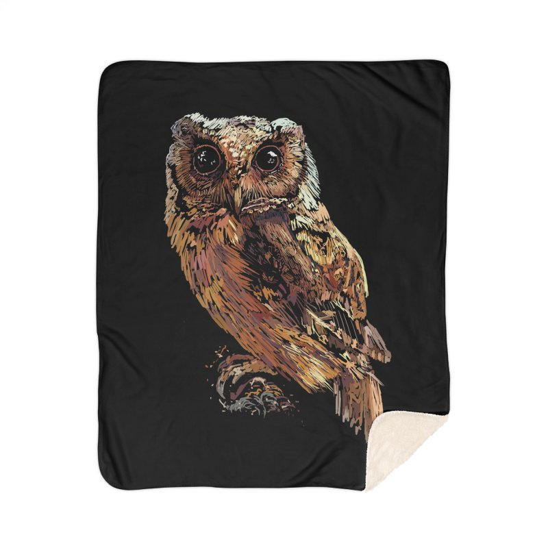 dark owl Home Sherpa Blanket Blanket by gupikus's Artist Shop