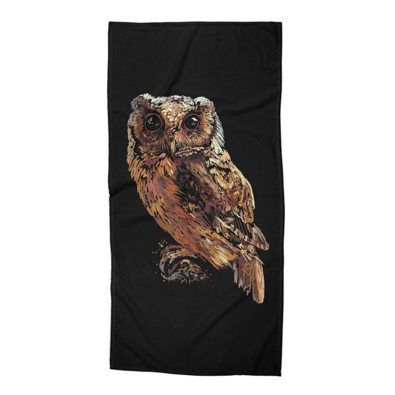 dark owl Accessories Beach Towel by gupikus's Artist Shop