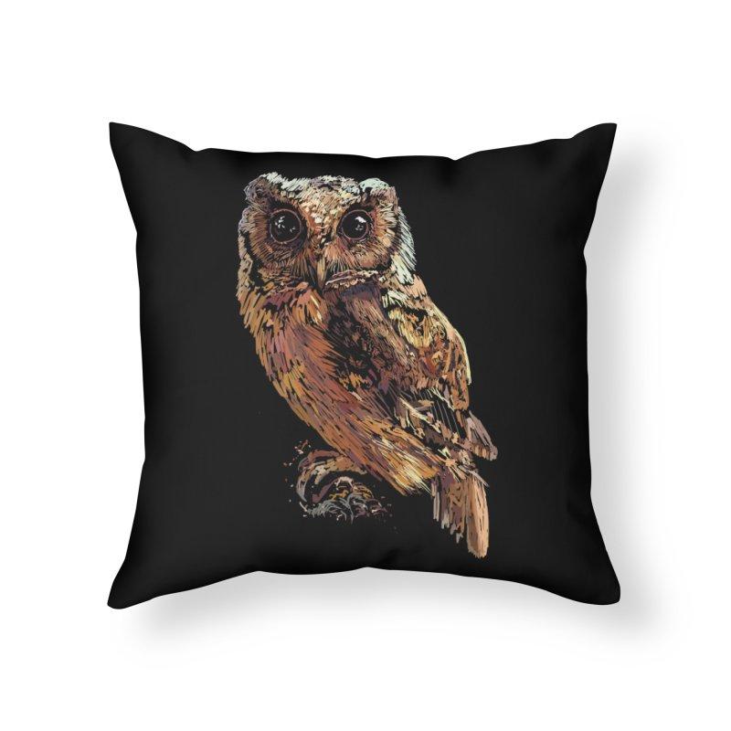dark owl Home Throw Pillow by gupikus's Artist Shop