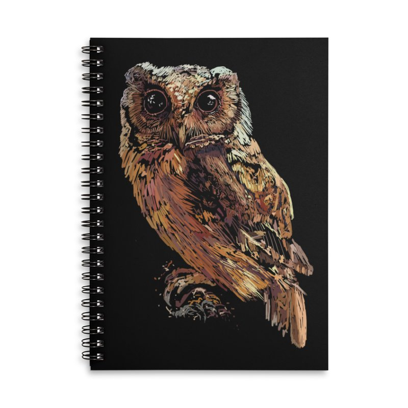 dark owl Accessories Lined Spiral Notebook by gupikus's Artist Shop