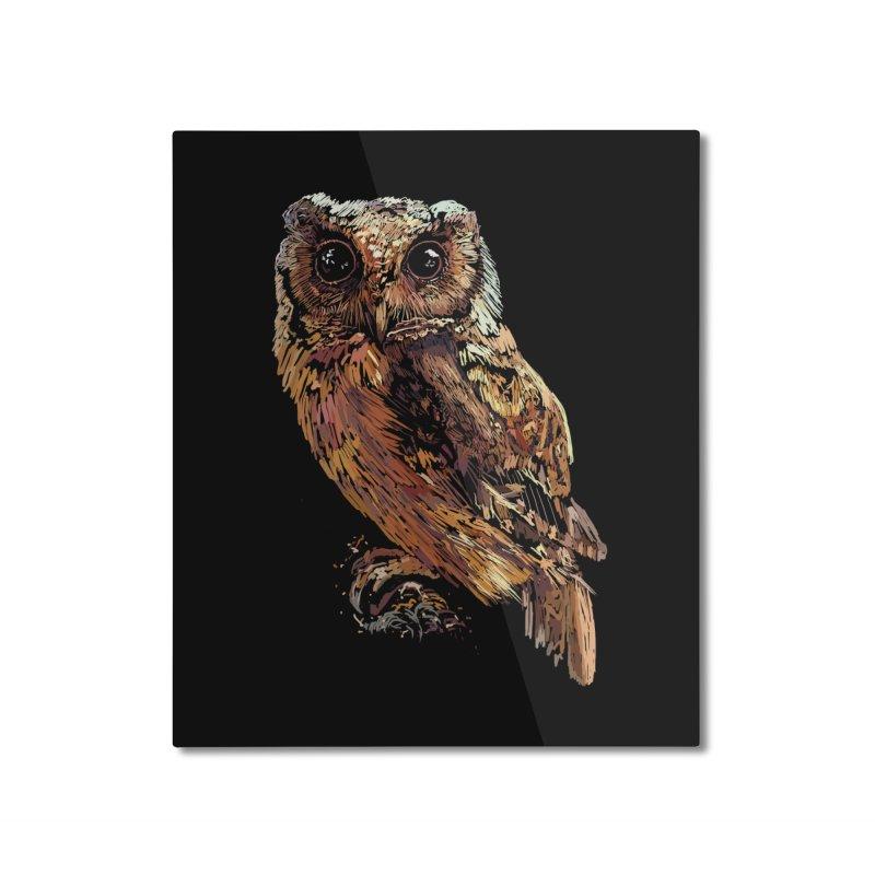 dark owl Home Mounted Aluminum Print by gupikus's Artist Shop