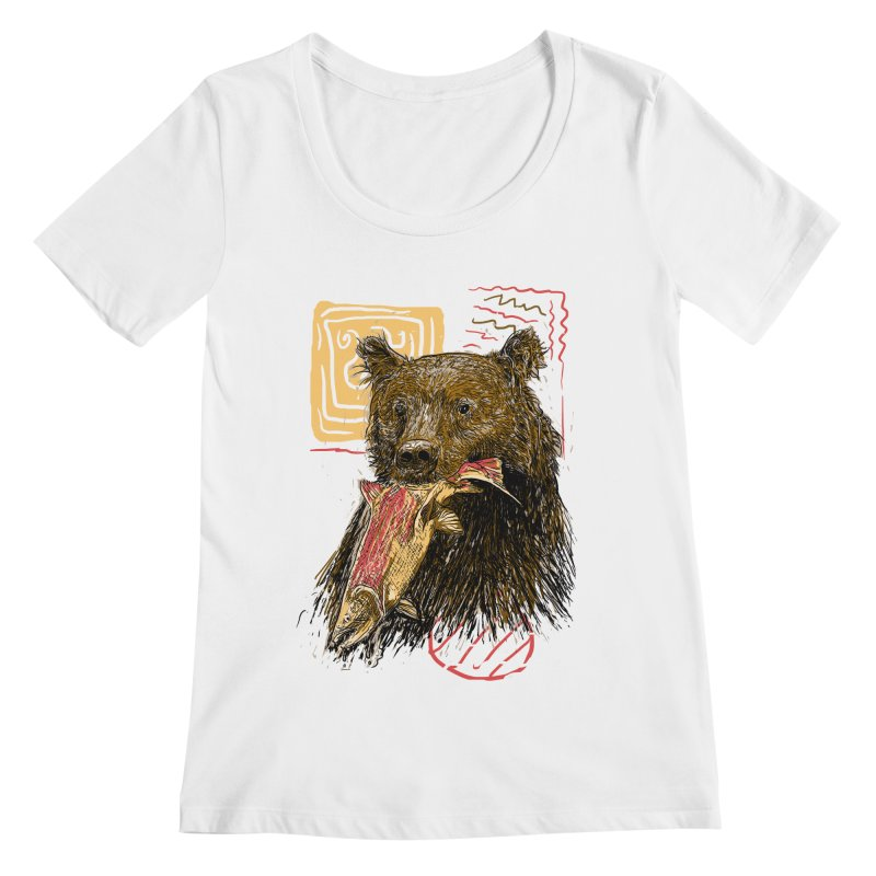 eat bear Women's Scoopneck by gupikus's Artist Shop