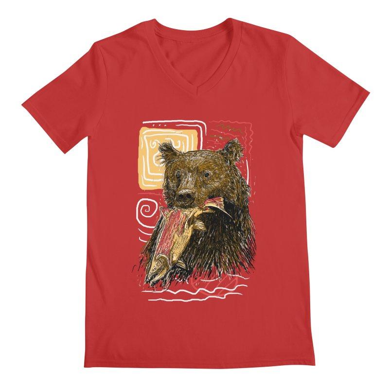 eat bear Men's V-Neck by gupikus's Artist Shop