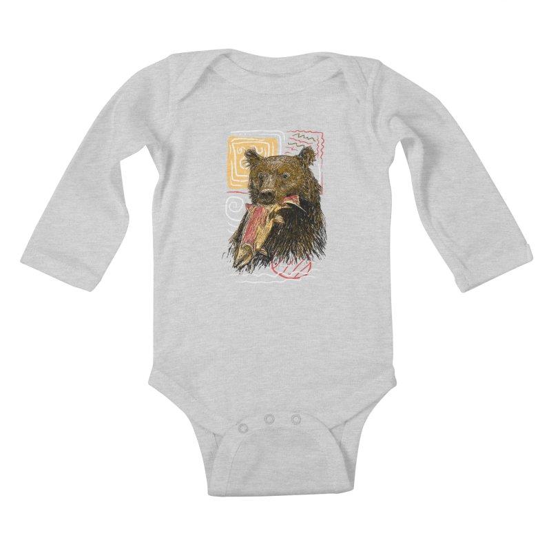 eat bear Kids Baby Longsleeve Bodysuit by gupikus's Artist Shop