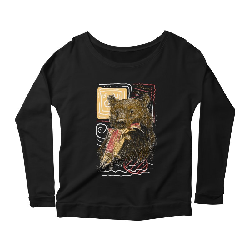 eat bear Women's Scoop Neck Longsleeve T-Shirt by gupikus's Artist Shop