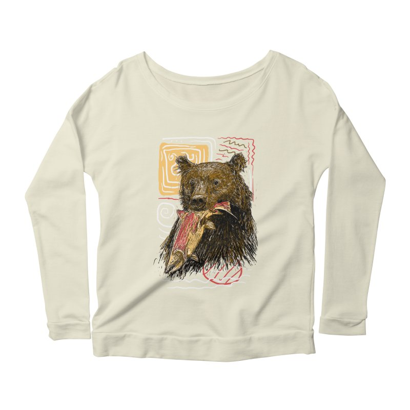 eat bear Women's Longsleeve Scoopneck  by gupikus's Artist Shop