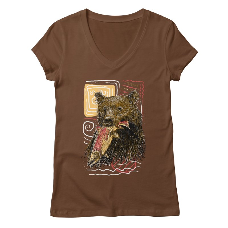 eat bear Women's Regular V-Neck by gupikus's Artist Shop