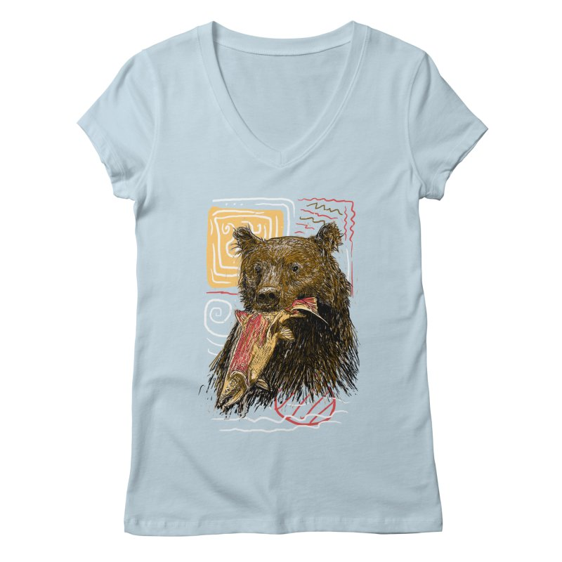 eat bear Women's V-Neck by gupikus's Artist Shop