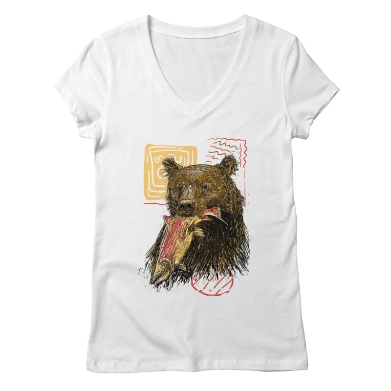 eat bear Women's Regular V-Neck by gupikus's Artist Shop