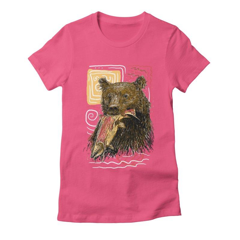 eat bear Women's Fitted T-Shirt by gupikus's Artist Shop