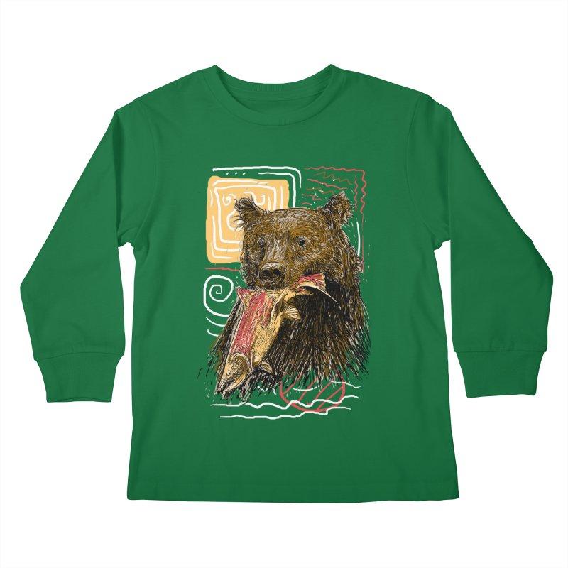 eat bear Kids Longsleeve T-Shirt by gupikus's Artist Shop