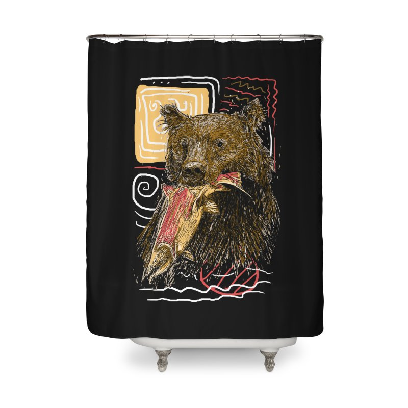 eat bear Home Shower Curtain by gupikus's Artist Shop