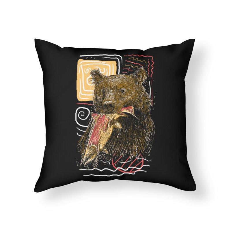eat bear Home Throw Pillow by gupikus's Artist Shop