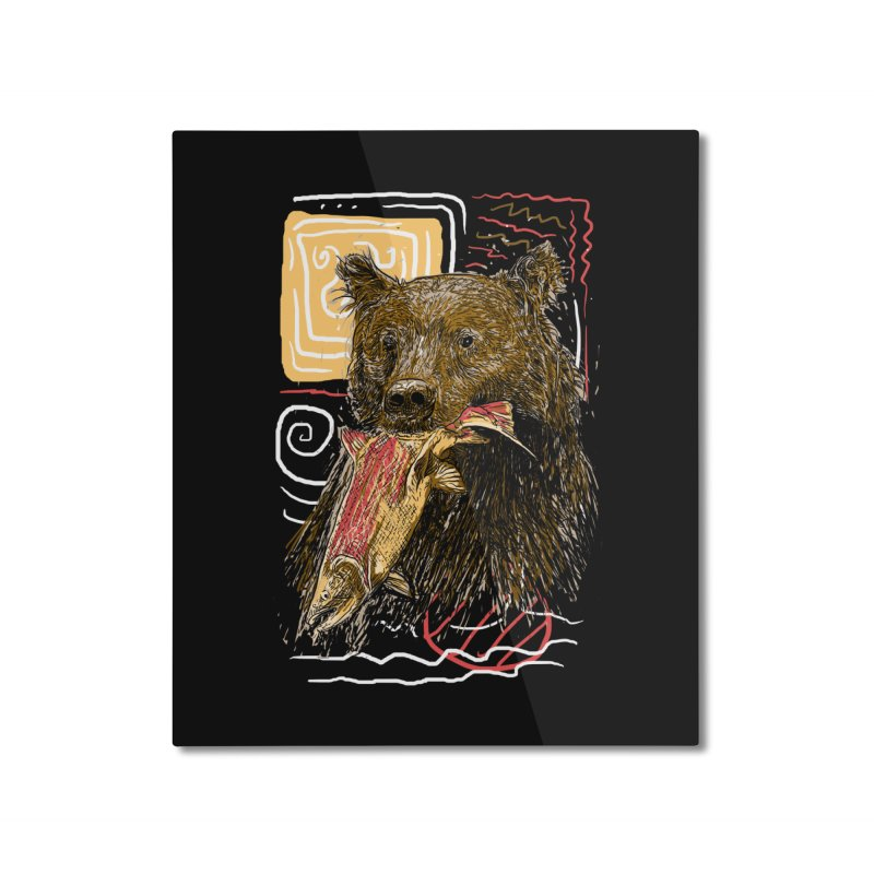 eat bear Home Mounted Aluminum Print by gupikus's Artist Shop