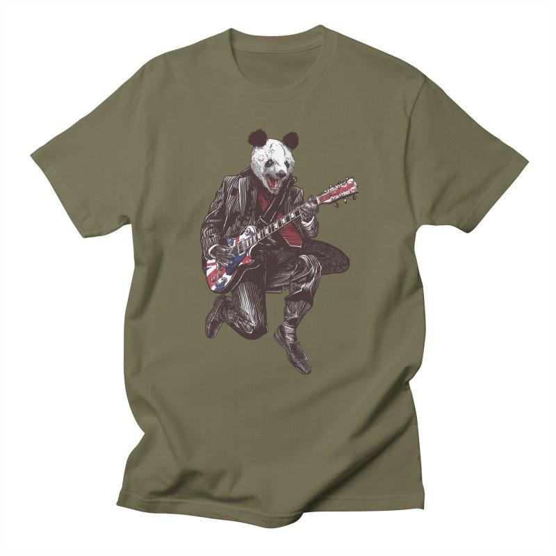 panda guitarist Men's T-Shirt by gupikus's Artist Shop