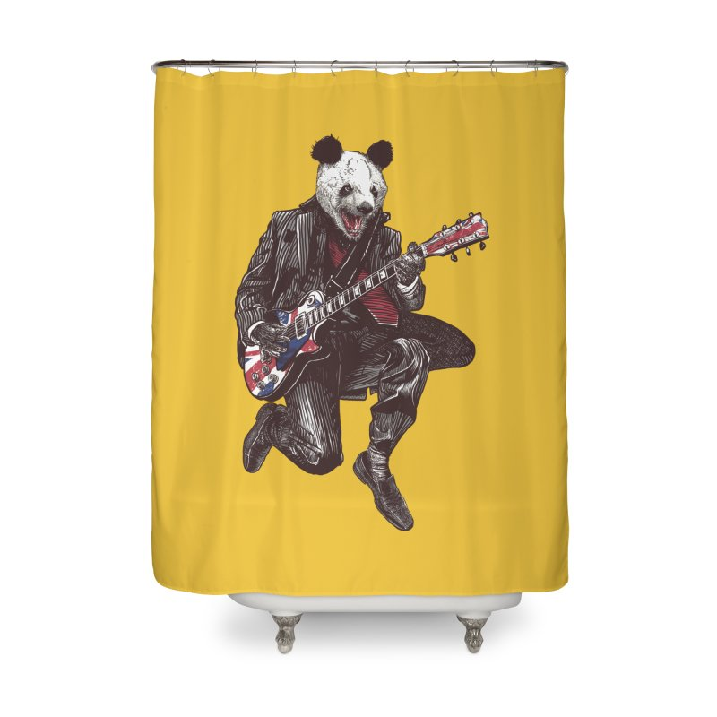 panda guitarist Home Shower Curtain by gupikus's Artist Shop