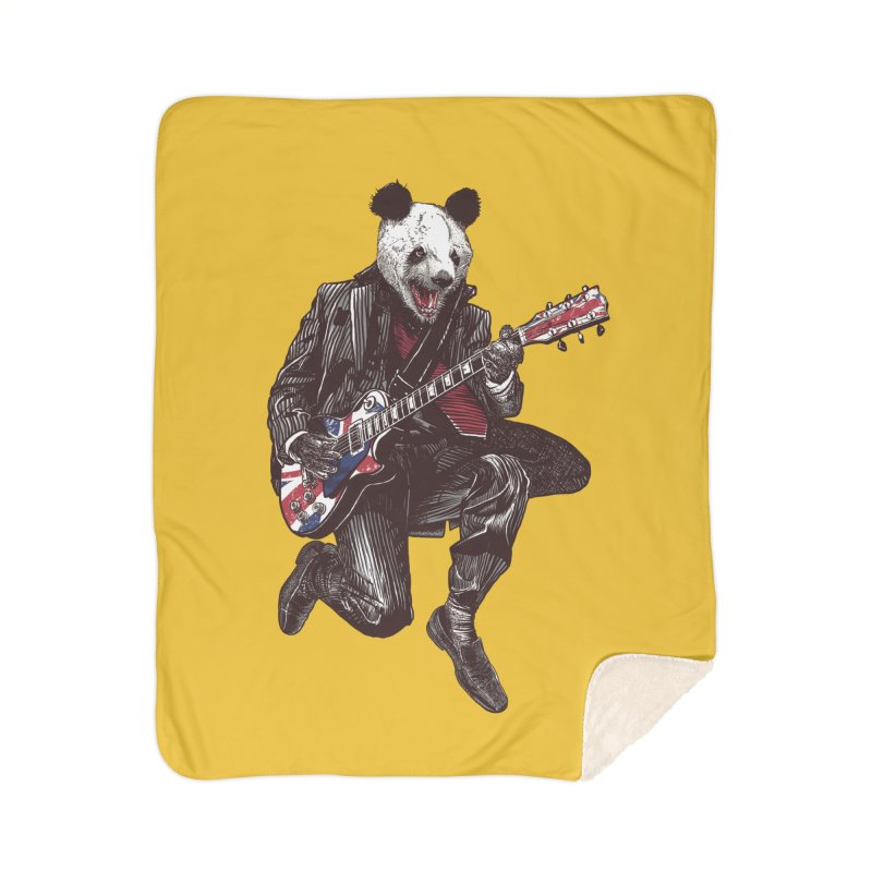 panda guitarist Home Sherpa Blanket Blanket by gupikus's Artist Shop