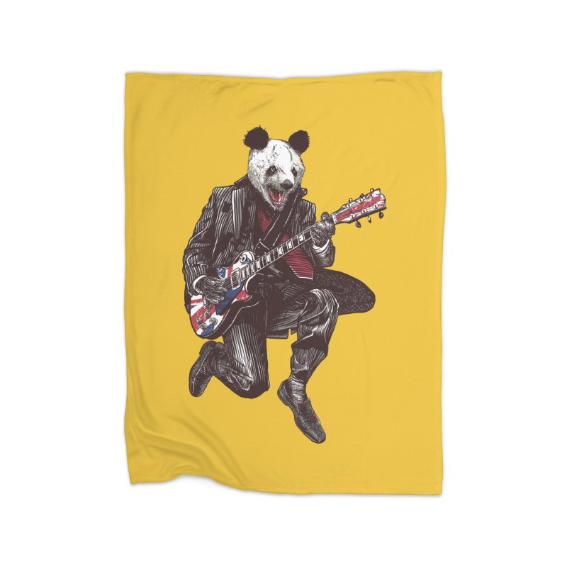 panda guitarist Home Fleece Blanket Blanket by gupikus's Artist Shop