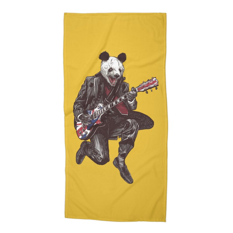 panda guitarist Accessories Beach Towel by gupikus's Artist Shop