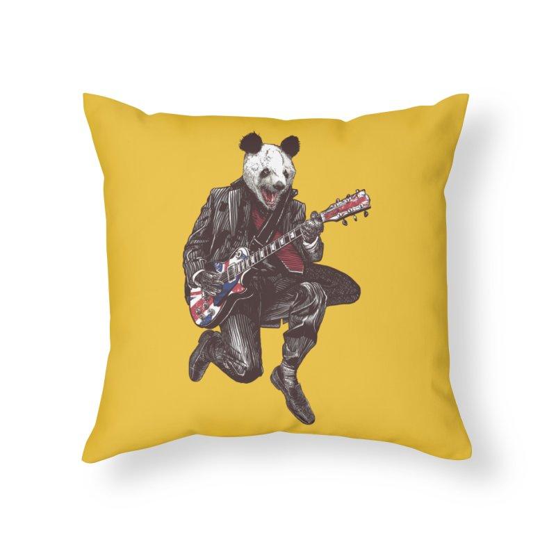 panda guitarist Home Throw Pillow by gupikus's Artist Shop