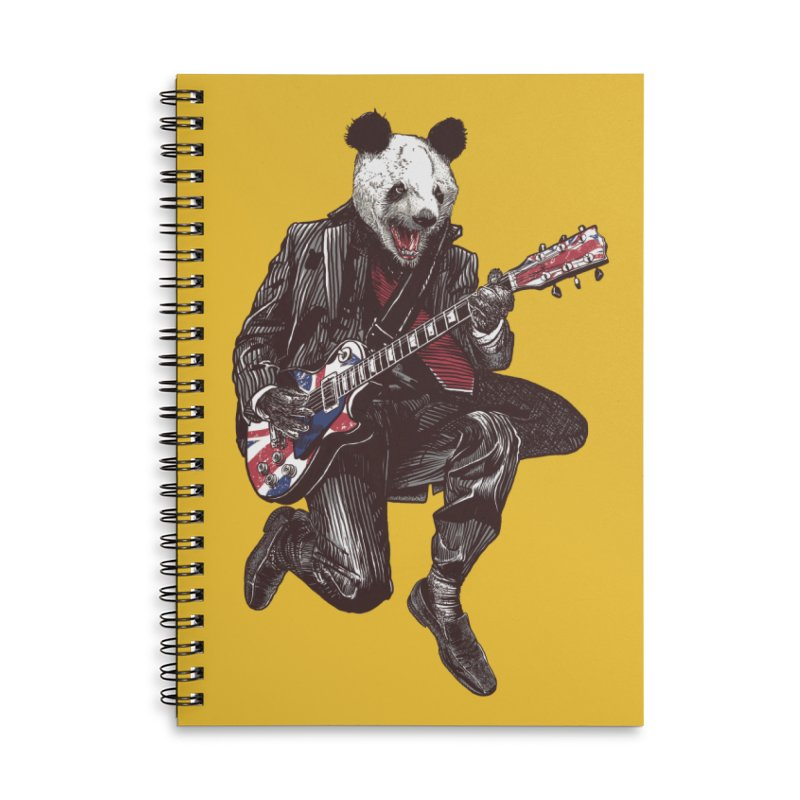 panda guitarist Accessories Lined Spiral Notebook by gupikus's Artist Shop