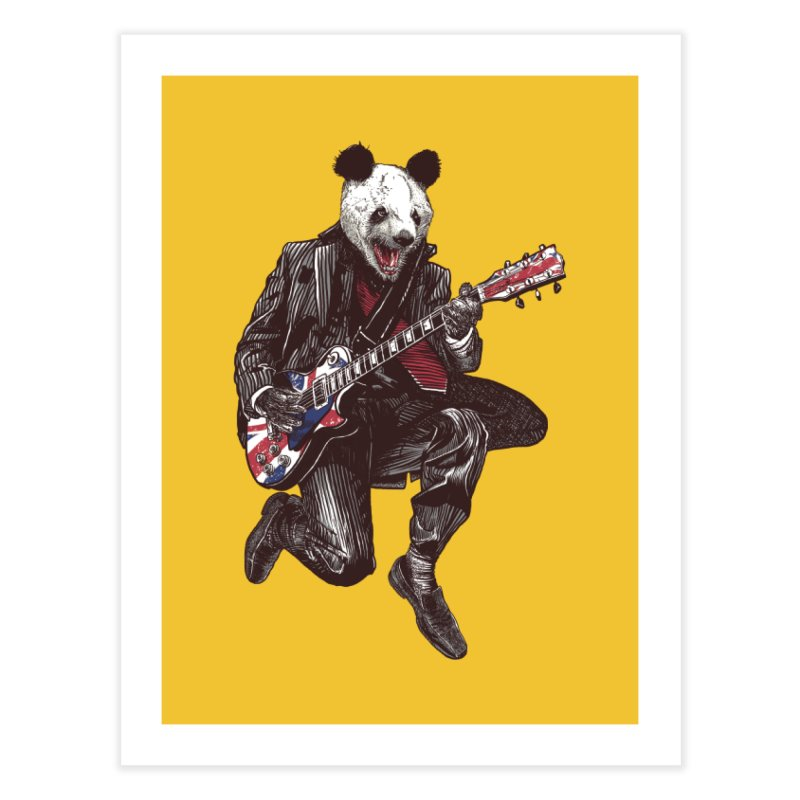 panda guitarist Home Fine Art Print by gupikus's Artist Shop