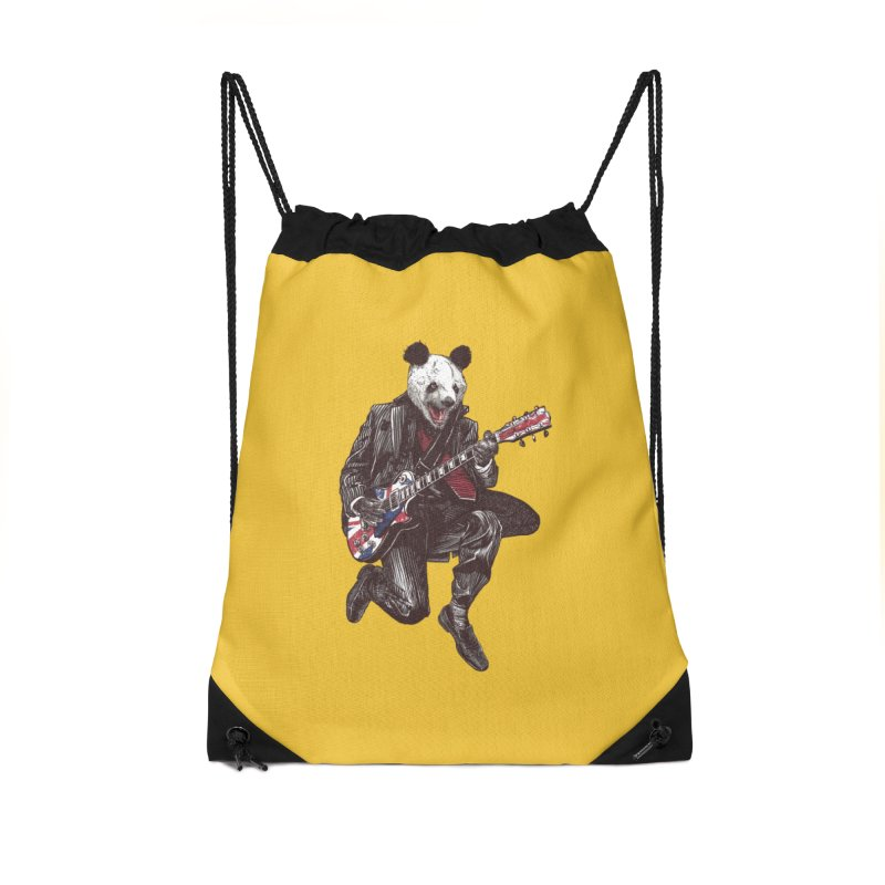 panda guitarist Accessories Drawstring Bag Bag by gupikus's Artist Shop
