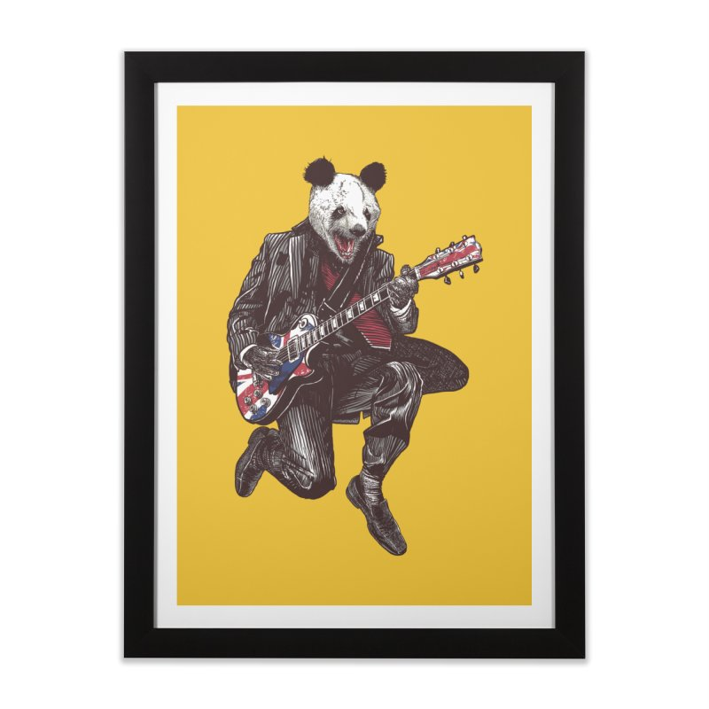 panda guitarist Home Framed Fine Art Print by gupikus's Artist Shop