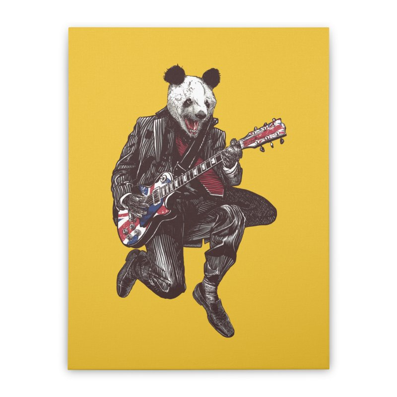 panda guitarist Home Stretched Canvas by gupikus's Artist Shop